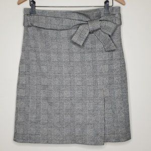 Isaac Mizrahi New York Plaid Bow Faux Wrap Skirt